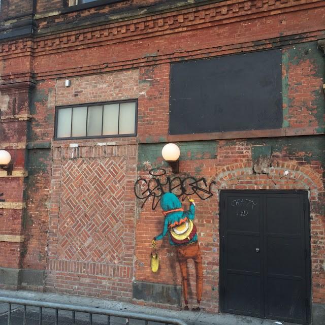 Os Gemeos, a new street piece on Houston Street, New York City