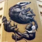ROA New Mural In Progress, Malaga, Spain