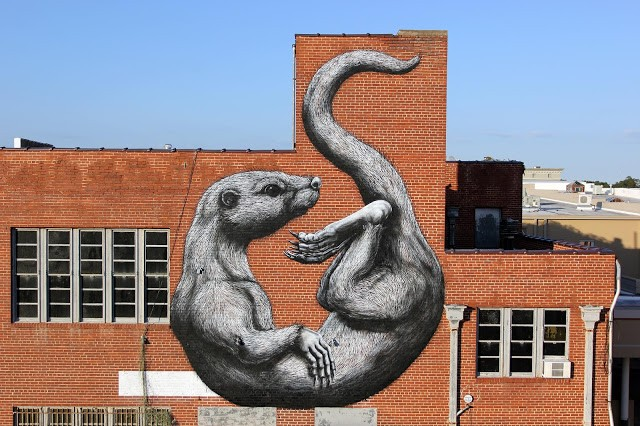 "Unexpected '15: ""The Otter"", a new mural by ROA in Fort Smith, Arkansas"