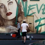 RONE New Mural In Progress, Melbourne, Australia