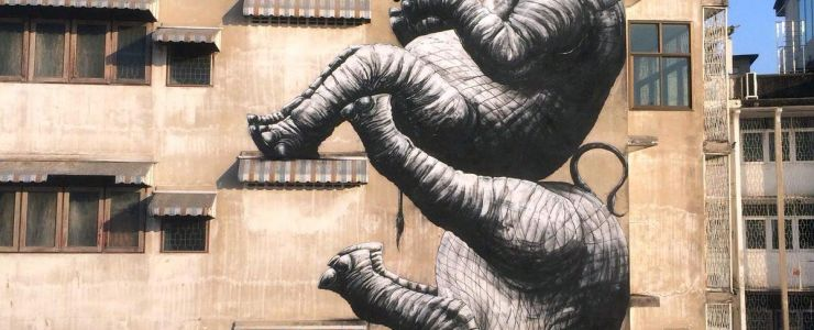 """Elephants"" by ROA in Bangkok, Thailand"