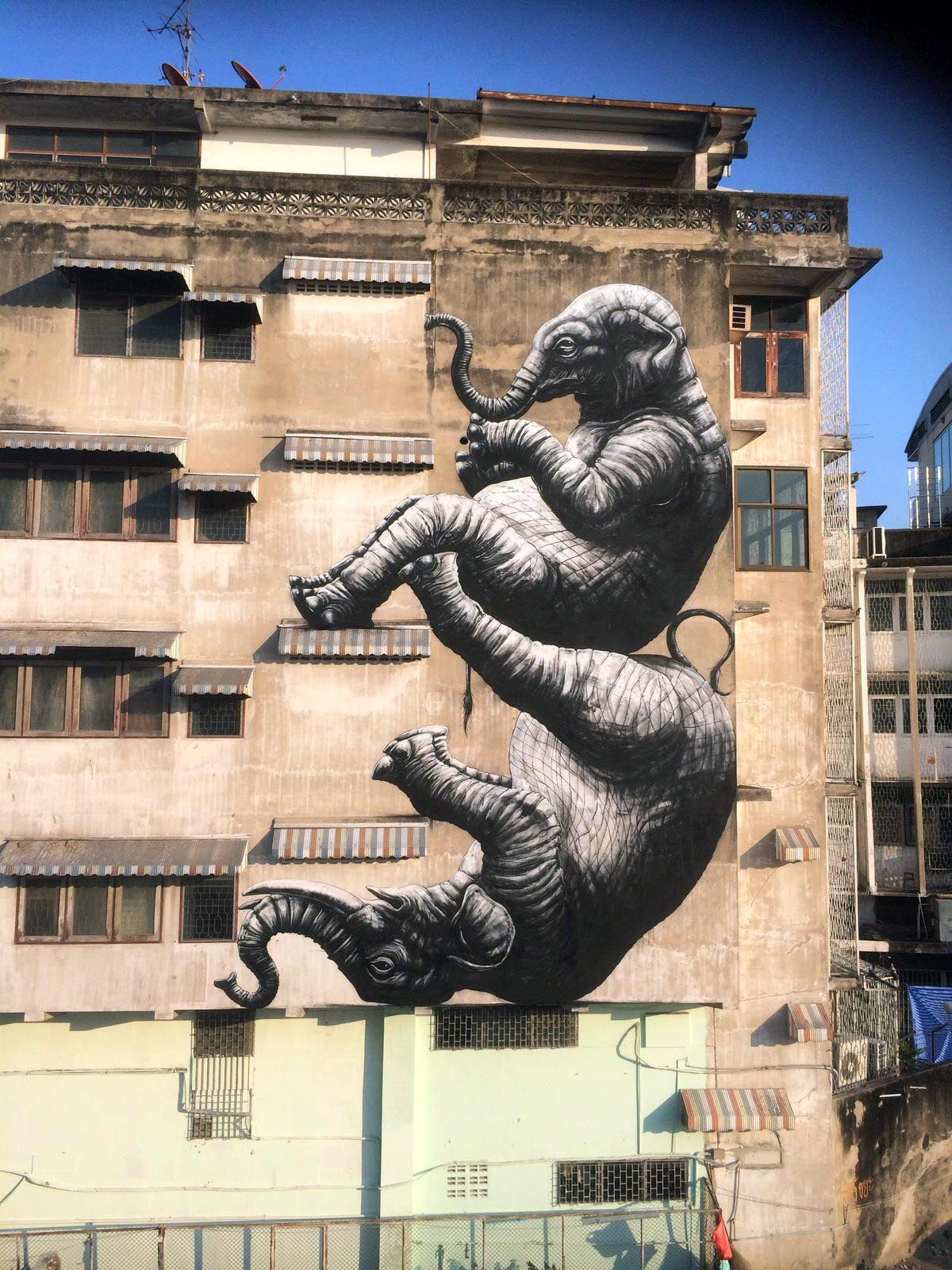 """Elephants"" by ROA in Bangkok, Thailand"