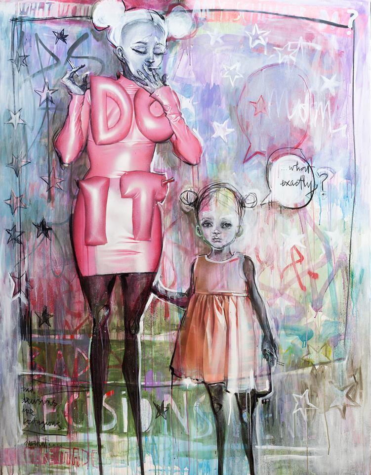 'Do It! (Bad Decisions Are Contagious)' Spraypaint + acrylic paint + charcoal on canvas - 55 x 71